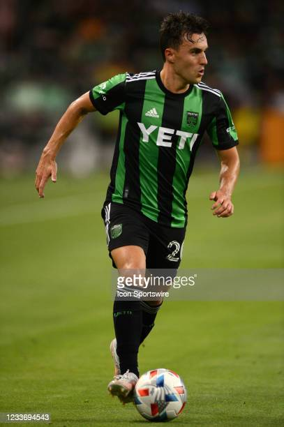 Austin FC midfielder Jared Stroud moves the ball downfield during MLS game between the Columbus Crew SC and Austin FC on June 27, 2021 at Q2 Stadium...