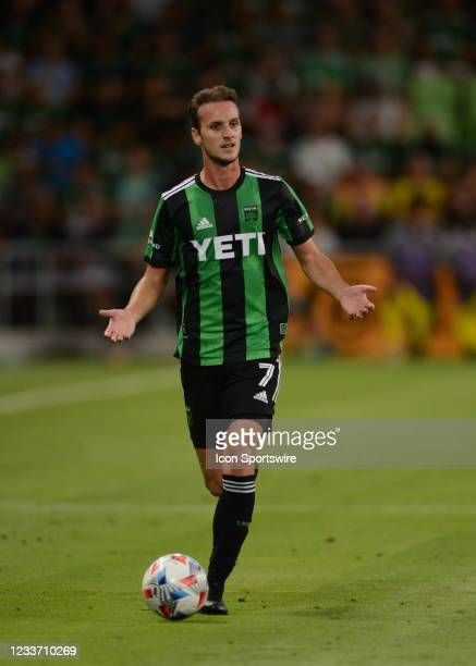 Austin FC midfielder Tomás Pochettino calls for help from team mates during MLS game between the Columbus Crew SC and Austin FC on June 27, 2021 at...