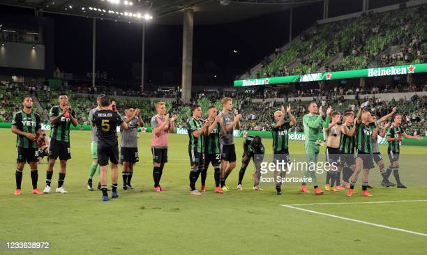 Austin FC players thank the fans after 0 - 0 draw in MLS game between the San Jose Earthquakes and Austin FC on June 19, 2021 at Q2 Stadium in...