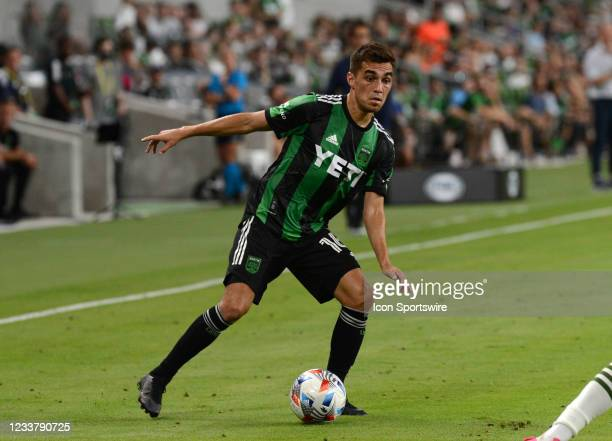 Austin FC's Hector Jimenez moves the ball downfield during MLS game between the Portland Timbers and Austin FC on July 1, 2021 at Q2 Stadium in...