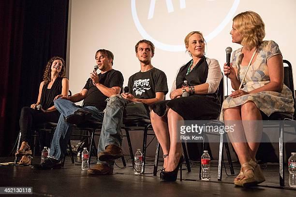 Austin Film Society associate artistic director Holly Herrick, director Richard Linklater, actor Ellar Coltrane, actress Patricia Arquette, and...