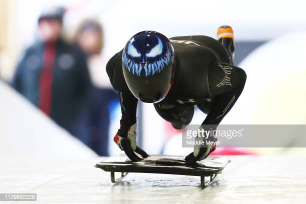 Austin Florian of the United States slides during a training session ahead of 2019 IBSF World Cup Bobsled & Skeleton at the Mt. Van Hoevenberg...