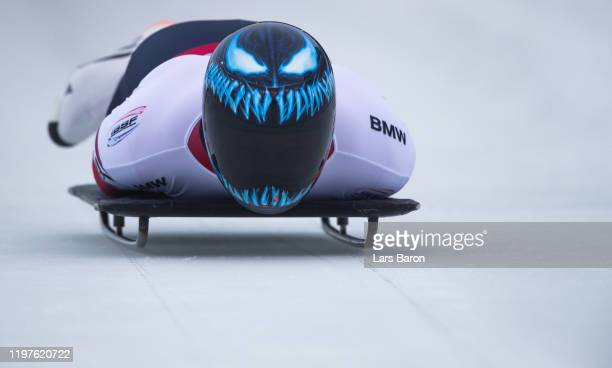 Austin Florian of USA competes during the BMW IBSF Skeleton World Cup at Veltins Eis-Arena on January 05, 2020 in Winterberg, Germany.