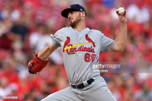 Austin Gomber of the St Louis Cardinals pitches in the second inning against the Cincinnati Reds at Great American Ball Park on July 24 2018 in...