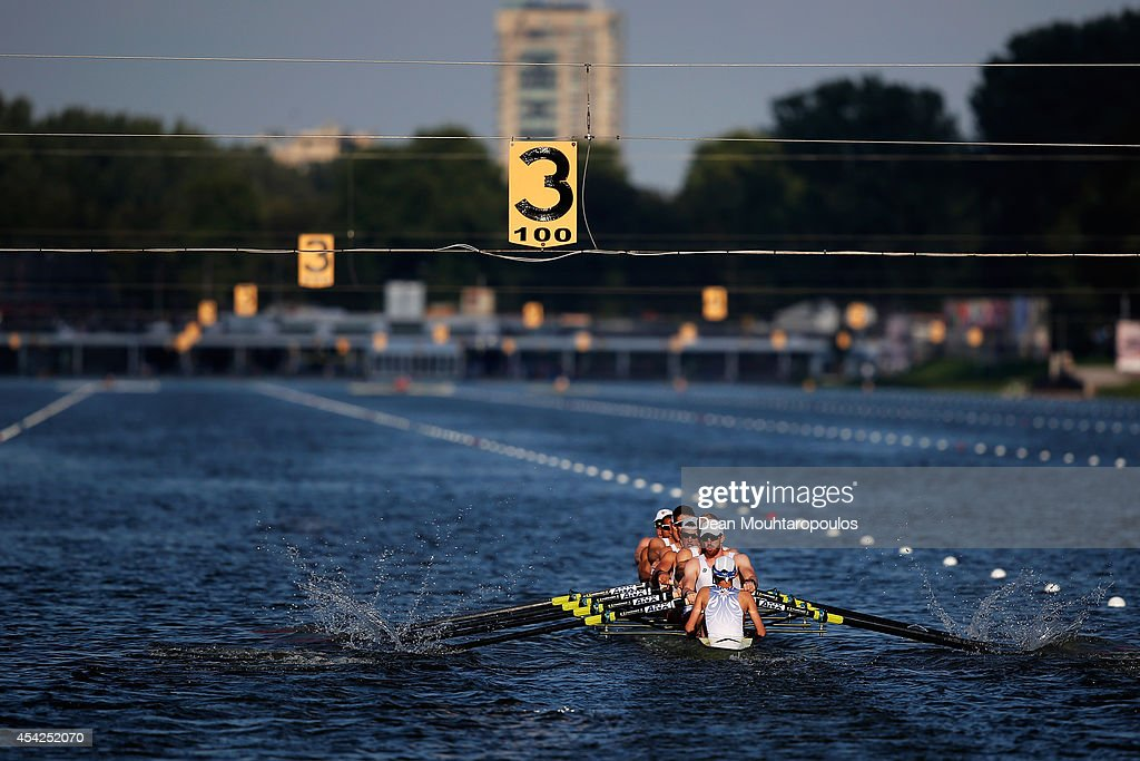 Austin Hack, David Banks, Steve Kasprzyk, Matthew Miller, Robert Munn, Nareg Guregian, Zachary Vlahos, Samuel Dommer and Thomas Dethlefs of the United States of America competes in the Men's Eight Repechage during the 2014 World Rowing Championships at the Bosbaan on August 27, 2014 in Amsterdam, Netherlands.