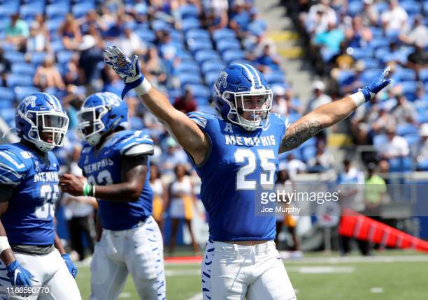 Austin Hall of the Memphis Tigers celebrates after a play against the Southern Jaguars on September 7, 2019 at Liberty Bowl Memorial Stadium in...