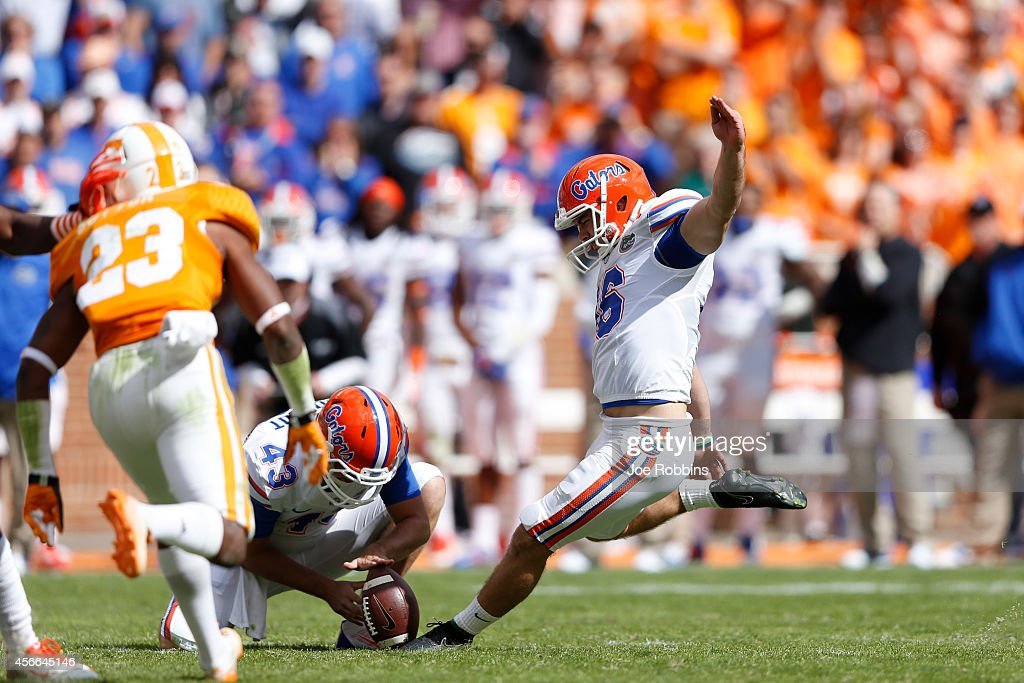 Austin Hardin #16 of the Florida Gators kicks a 49-yard field goal to give his team the lead in the fourth quarter of the game against the Tennessee Volunteers at Neyland Stadium on October 4, 2014 in Knoxville, Tennessee. Florida defeated Tennessee 10-9.