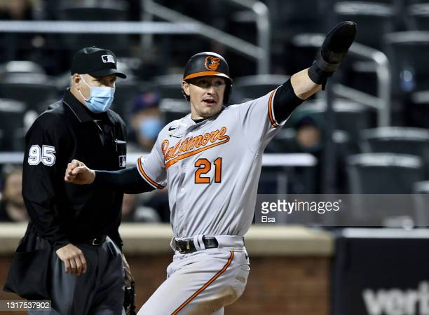 Austin Hays of the Baltimore Orioles celebrates after he scores in the eighth inning against the New York Mets at Citi Field on May 11, 2021 in the...