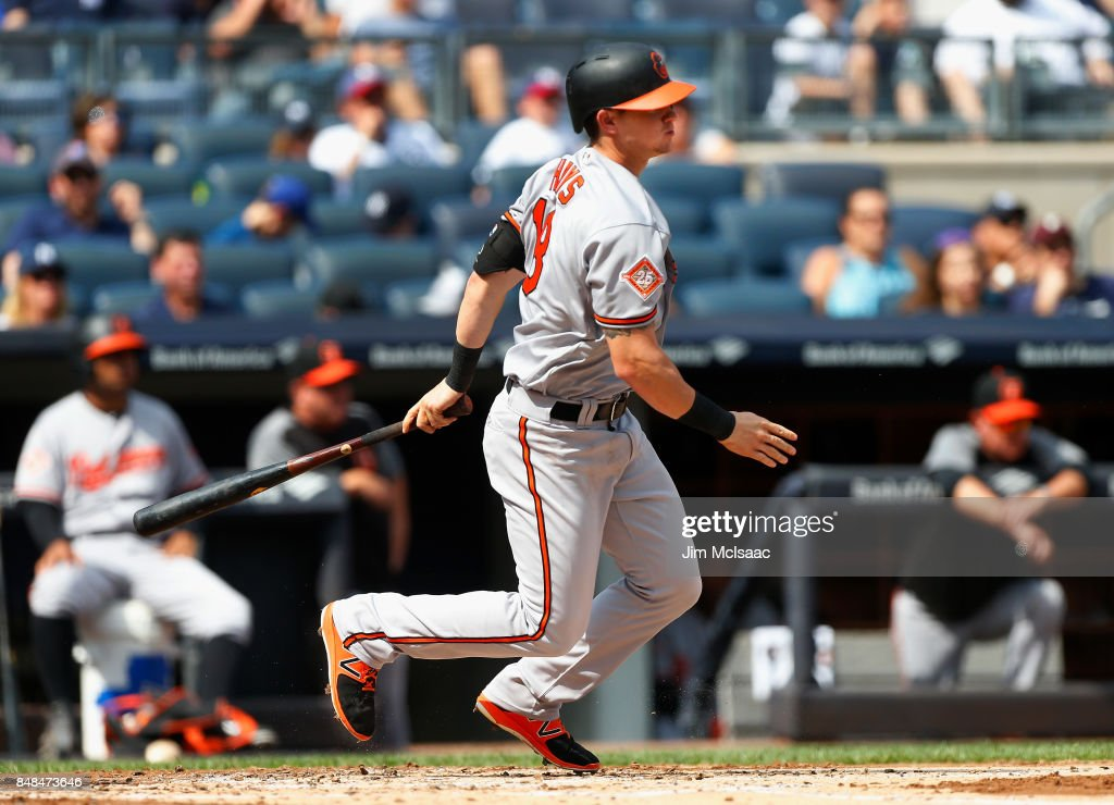 Austin Hays #18 of the Baltimore Orioles follows through on a second inning RBI single against the New York Yankees at Yankee Stadium on September 17, 2017 in the Bronx borough of New York City.