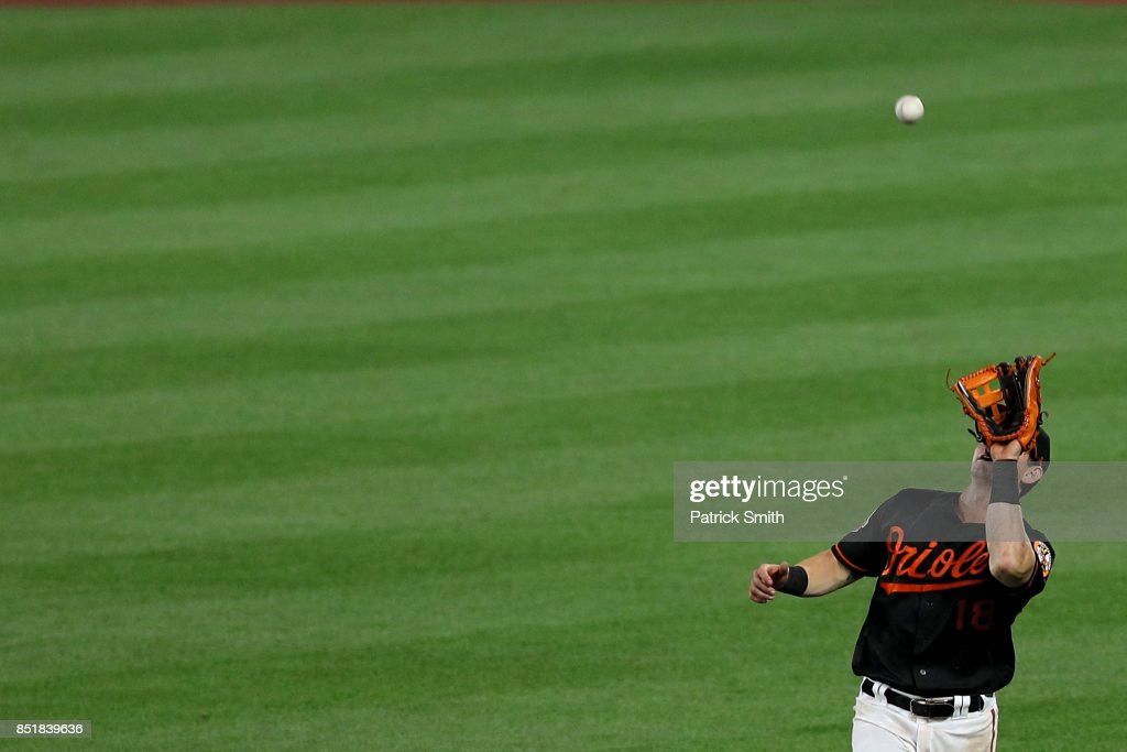 Austin Hays #18 of the Baltimore Orioles makes a catch during the eighth inning against the Tampa Bay Rays at Oriole Park at Camden Yards on September 22, 2017 in Baltimore, Maryland.