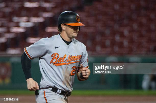 Austin Hays of the Baltimore Orioles runs the bases after hitting a home run in the ninth inning against the Boston Red Sox at Fenway Park on...