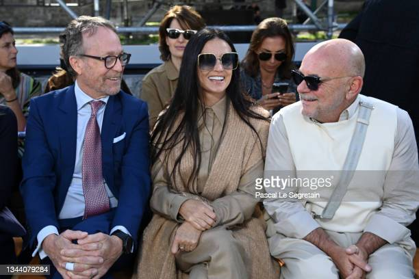 Austin Hearst, Demi Moore and a guest attend the Chloe Womenswear Spring/Summer 2022 show as part of Paris Fashion Week on September 30, 2021 in...