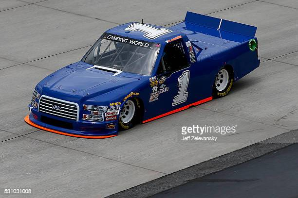 Austin Hill driver of the AD Welding Ford practices for the NASCAR Camping World Truck Series at Dover International Speedway on May 12 2016 in Dover...
