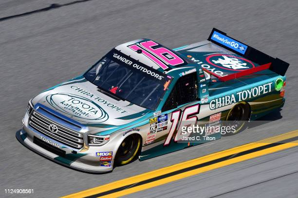Austin Hill driver of the CHIBA Toyopet Toyota practices for the NASCAR Gander Outdoor Truck Series NextEra Energy 250 at Daytona International...
