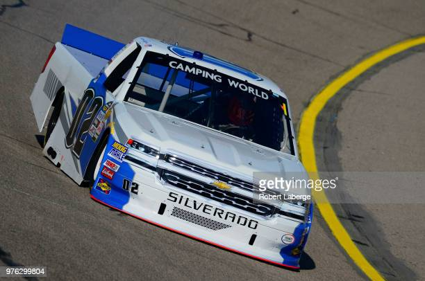Austin Hill driver of the United Rentals Chevrolet drives his truck during practice for the NASCAR Camping World Truck Series MM's 200 presented by...