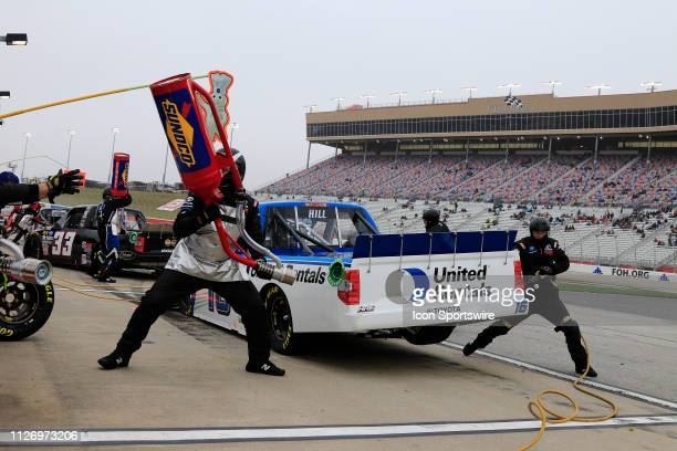 Austin Hill Hattori Racing Enterprises Toyota Tundra United Rental pits his truck during the 11th running of the Ultimate Tailgating 200 NASCAR...
