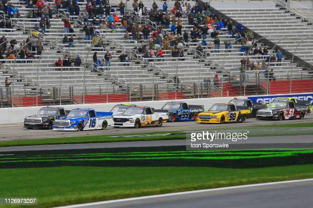 Austin Hill Hattori Racing Enterprises Toyota Tundra United Rental leads the field to the green flag to start the 11th running of the Ultimate...