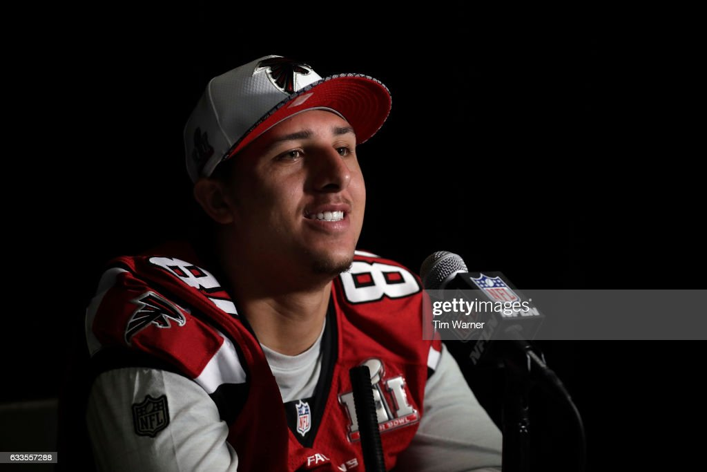 Austin Hooper #81 of the Atlanta Falcons addresses the media during the Super Bowl LI press conference on February 2, 2017 in Houston, Texas.