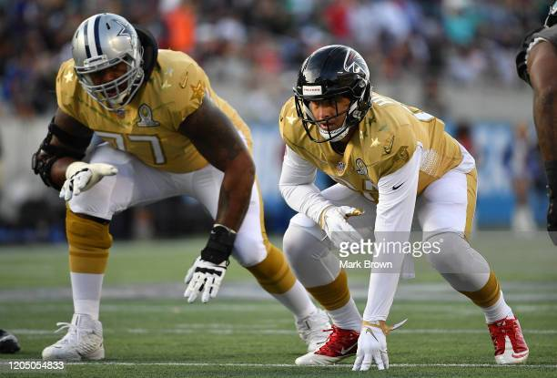 Austin Hooper of the Atlanta Falcons lines up during the 2020 NFL Pro Bowl at Camping World Stadium on January 26 2020 in Orlando Florida
