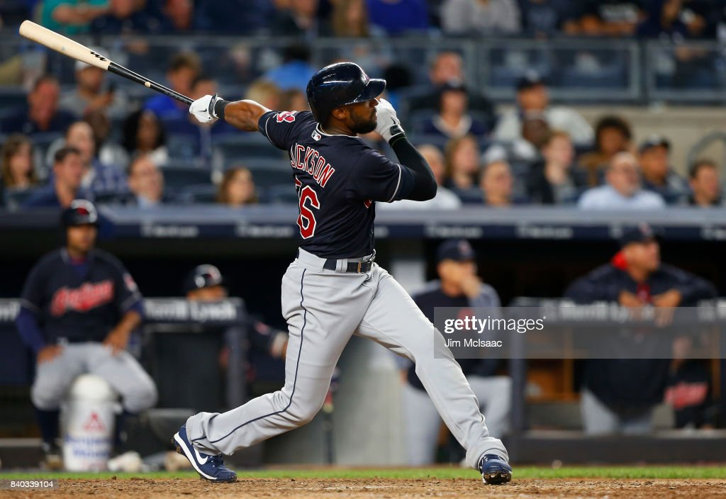 Austin Jackson #26 of the Cleveland Indians follows through on an eighth inning home run against the New York Yankees at Yankee Stadium on August 28, 2017 in the Bronx borough of New York City.