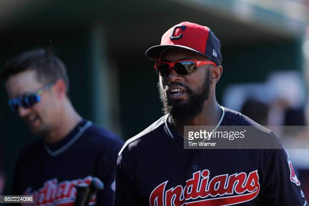 Austin Jackson of the Cleveland Indians in the dugout in the sixth inning against the Kansas City Royals during the spring training game at Goodyear...