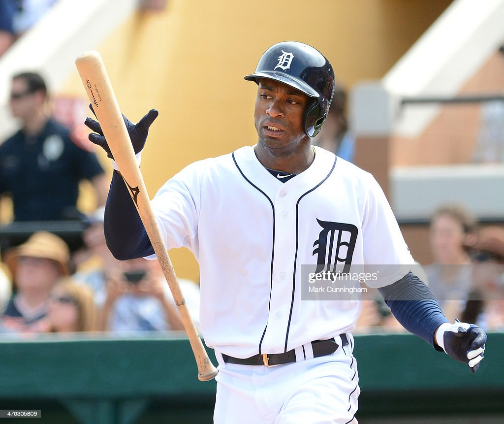 Austin Jackson #14 of the Detroit Tigers bats during the spring training game against the Florida Southern College Moccasins at Joker Marchant Stadium on February 25, 2014 in Lakeland, Florida. The Tigers defeated the Moccasins 12-0.