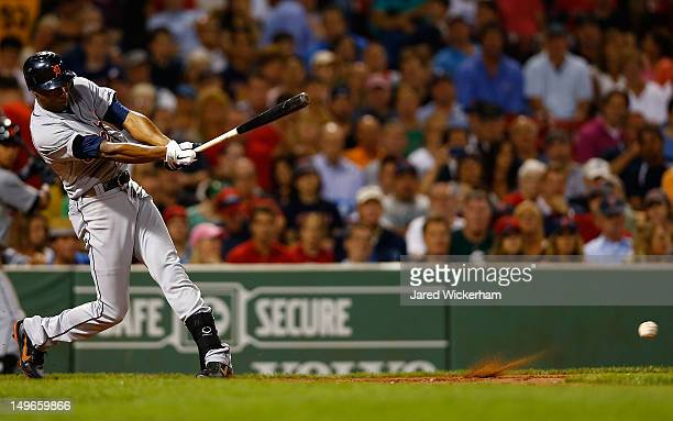 Austin Jackson of the Detroit Tigers hits an RBI single in the fifth inning against the Boston Red Sox during the game on August 1 2012 at Fenway...