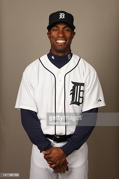 Austin Jackson of the Detroit Tigers poses during Photo Day on Tuesday February 28 2012 at Joker Marchant Stadium in Lakeland Florida
