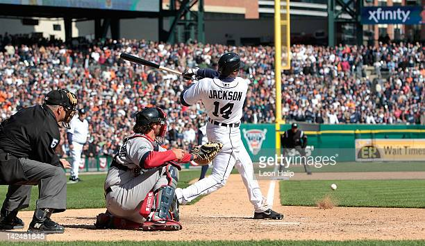 Austin Jackson of the Detroit Tigers singles to left field in the bottom of the ninth inning scoring Danny Worth to give the Tigers a 32 win over the...
