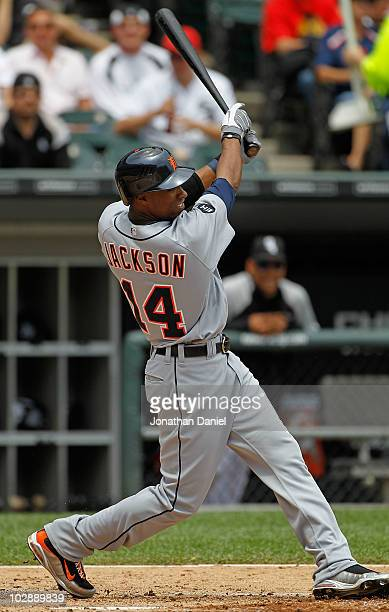 Austin Jackson of the Detroit Tigers takes a swing against the Chicago White Sox at US Cellular Field on June 10 2010 in Chicago Illinois The White...