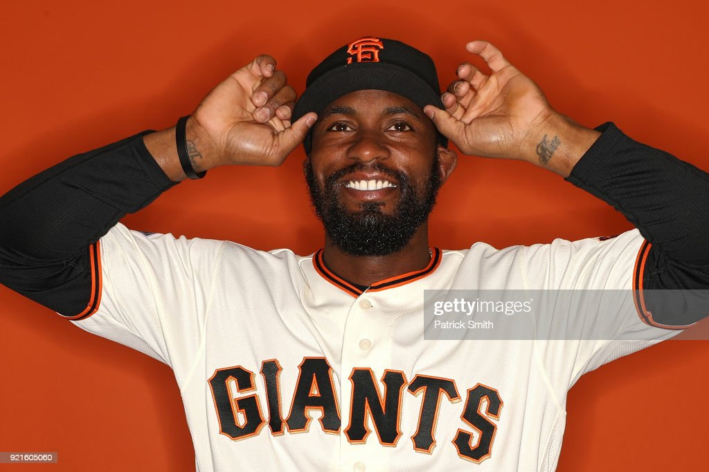 Austin Jackson #16 of the San Francisco Giants poses on photo day during MLB Spring Training at Scottsdale Stadium on February 20, 2018 in Scottsdale, Arizona.