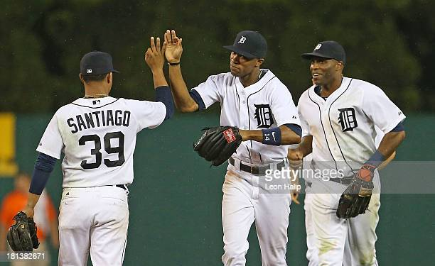 Austin Jackson Torii Hunter and Ramon Santiago of the Detroit Tigers celebrate a win over the Chicago White Sox at Comerica Park on September 20 2013...