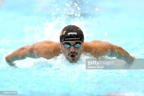 Austin Katz competes in the Men's 100 Meter Butterfly heats on Day Two of the TYR Pro Swim Series at San Antonio on January 15, 2021 in San Antonio,...