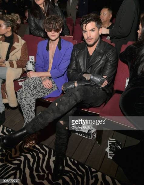 Austin Kolbe and Adam Lambert attend the Wolk Morais Collection 6 Fashion Show at The Hollywood Roosevelt Hotel on January 17 2018 in Los Angeles...