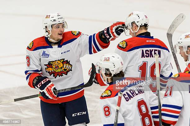 Austin Kosack of the Moncton Wildcats celebrates his goal with teammates during the QMJHL game against the Blainville-Boisbriand Armada at the Centre...