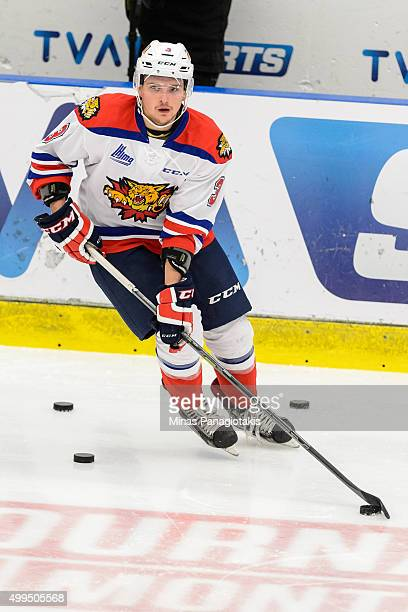 Austin Kosack of the Moncton Wildcats skates with the puck during the warmup prior to the QMJHL game against the Blainville-Boisbriand Armada at the...