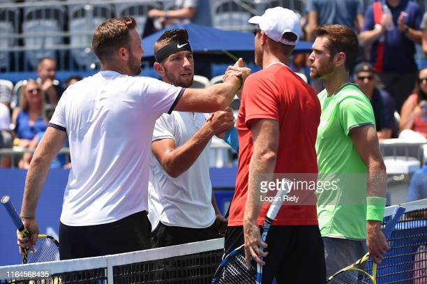 Austin Krajicek and Dominic Inglot of Great Britain celebrate after defeating Jack Sock and Jackson Withrow during the BB&T Atlanta Open at Atlantic...