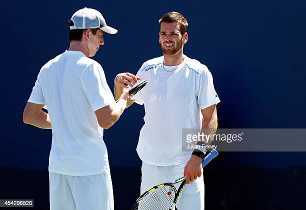 Austin Krajicek of the United States and JohnPatrick Smith of Australia during their men's doubles match Day Four of the 2014 US Open at the USTA...