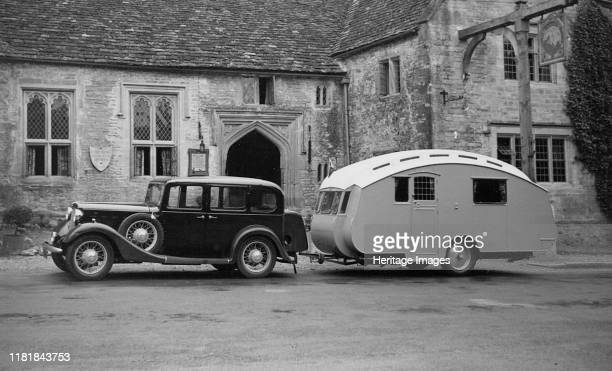 Austin Light 13 9 Ascot saloon with Winchestr Royal caravan Creator Unknown