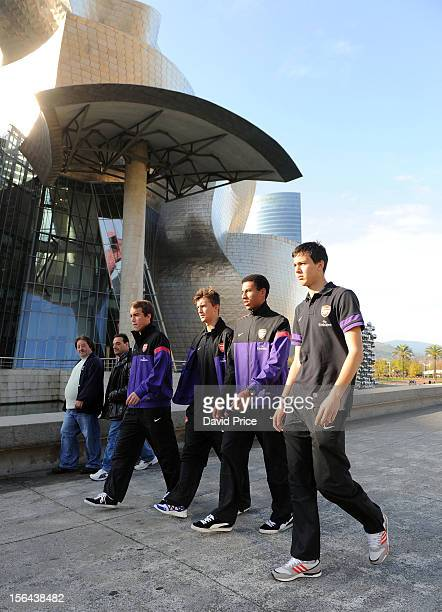 Austin Lipman Kris Olsson Isaac Hayden and Dejan Iliev of Arsenal U19 during a team walk in the morning before the NextGen Series match between...