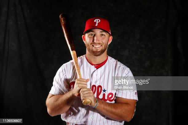 Austin Listi of the Philadelphia Phillies poses for a photo during the Phillies' photo day on February 19 2019 at Carpenter Field in Clearwater...