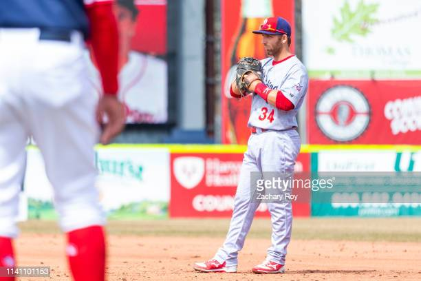 Austin Listi of the Reading Fightin Phils waits for the pitch in the game between the Portland Sea Dogs and the Reading Fightin Phils at Hadlock...