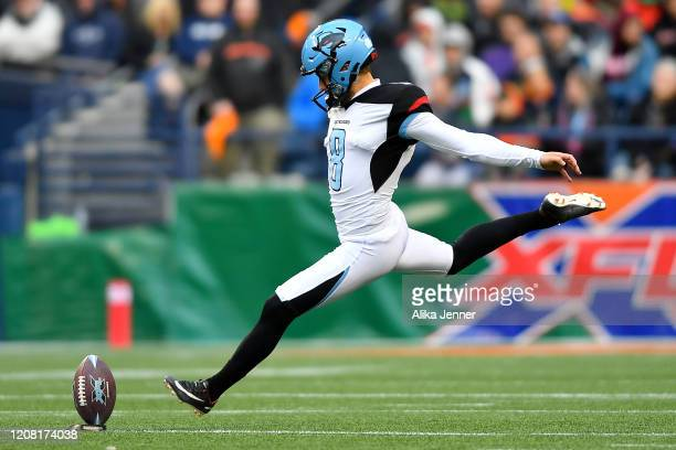Austin MacGinnis of the Dallas Renegades kicks off during the second half of the game against the Seattle Dragons at CenturyLink Field on February 22...