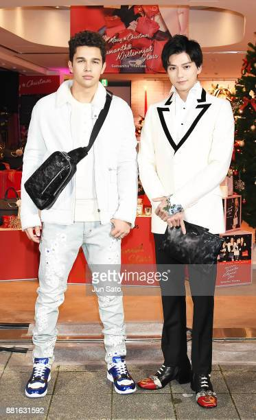 Austin Mahone and actor Mackenyu Arata attend the Samantha Thavasa Christmas event on November 29 2017 in Tokyo Japan