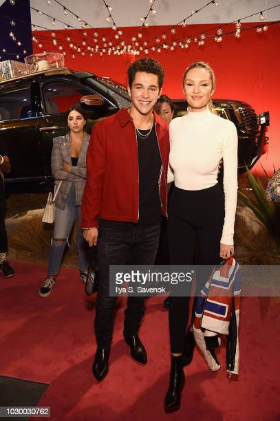 Austin Mahone and Candice Swanepoel attend the NYFW Brandon Maxwell Runway Show KIA Telluride launch at Classic Car Club Manhattan on September 8...