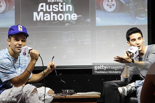 Austin Mahone and Frankie P at Austin Mahone visits 973 Hits penthouse on July 14 2015 in Miami Florida