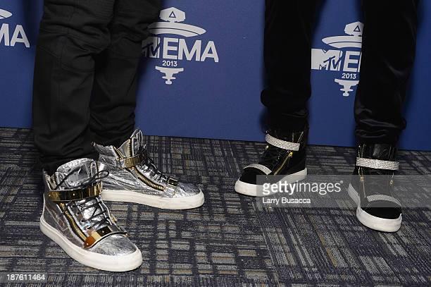 Austin Mahone and Jason Derulo attend the MTV 2013 UEMA US Telecast Meet Greet at Intrepid on November 10 2013 in New York City
