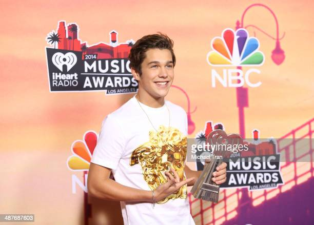 Austin Mahone attends the 2014 iHeartRadio Music Awards press room held at The Shrine Auditorium on May 1 2014 in Los Angeles California