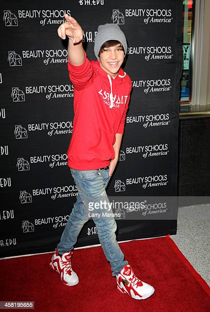 Austin Mahone attends Y100's PreShow at the Jingle Ball Village on the plaza at the BBT Center on December 20 2013 in Miami Florida