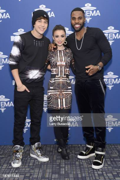 Austin Mahone Cher Lloyd and Jason Derulo attend the MTV 2013 UEMA US Telecast Meet Greet at Intrepid on November 10 2013 in New York City